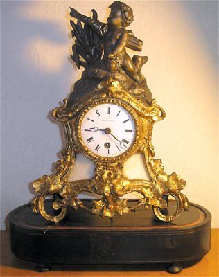 "Antique French ""LEROY A PARIS"",Mantel Clock,Working & Original Key &  Pendulum,"