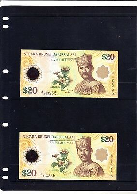 Brunei 2007. 2 Consecutive Commemorative $20 Polymer Banknotes. Uncirculated.