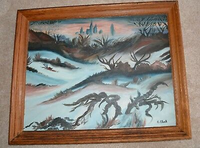 Claude Clark Sr African American Artist Painting 1915-2001 Framed Oil On Board