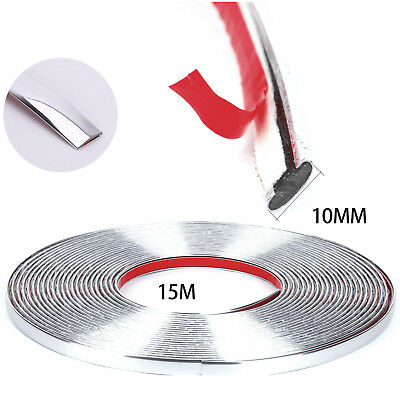 Chrome Car Edge Protector Styling Moulding Trim Strip Self Adhesive 10mmX15m New