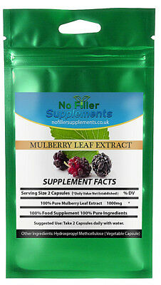 NoFillerSupplements 100% Pure Organic Mulberry Leaf Extract Vegetable Capsules