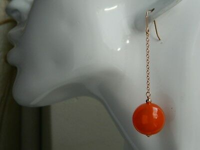 Art Deco Large Marbled Orange Amber BAKELITE (Tested), Rolled Rose Gold Earrings