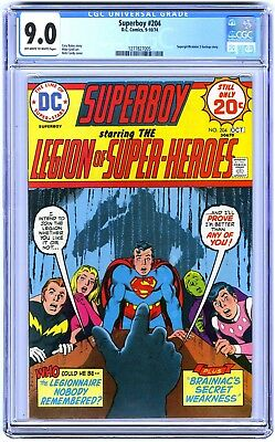 SUPERBOY #204 (1974) CGC 9.0 VF/NM OWW Pgs LEGION OF SUPER-HEROES / MIKE GRELL