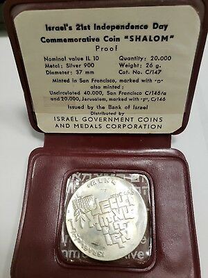 """Israel 1969  10 Lirot  Bu 21St Independence Day Coin """"shalom"""".900 Silver Coin"""