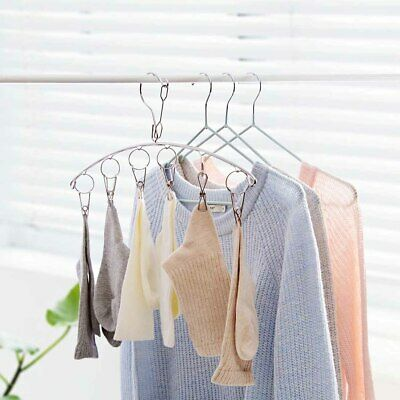 Stainless Steel Clothes Drying Laundry Hanger Windproof 6 Clips Clothespin