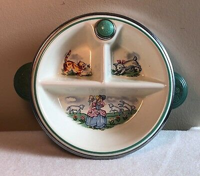 Vtg Little Bo Peep Nursery Rhyme Food Warmer Divided Covered Child's Baby Dish