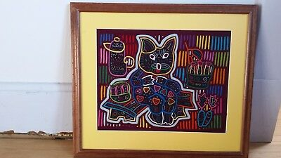 "Cat Mola Panama framed 20.25x17.5"" Kuna San Blas reverse applique folk art"