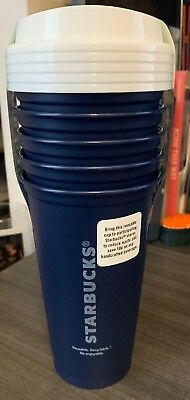 NEW - Starbucks Coffee Reusable Cup Navy Blue Tumbler 16 oz - 5 Pack.