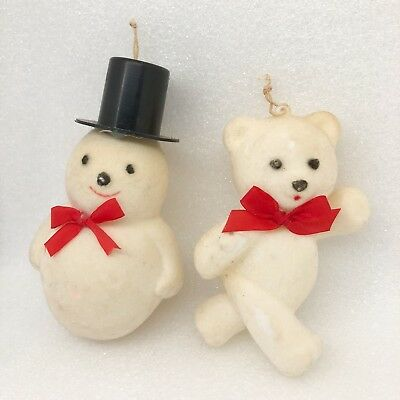 Vintage Felt & Paper Mache Christmas Ornaments Decor White Bear Frosty