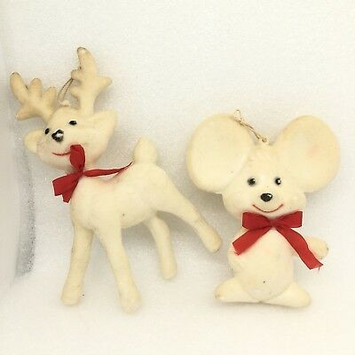 Vintage Felt & Paper Mache Christmas Ornaments Decor White Mouse Deer