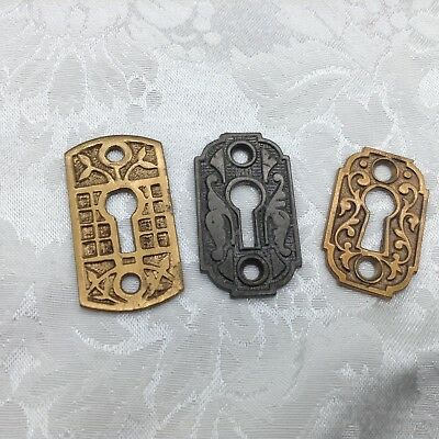 3 Mixed Lot of Antique Keyhole Covers Key Hole Escutcheon Brass Ornate Victorian