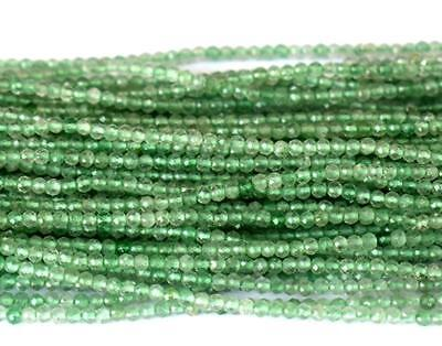 """1 Line Natural Green Fluorite Faceted Round Beads 2 Mm 12.5"""" Strand #092"""