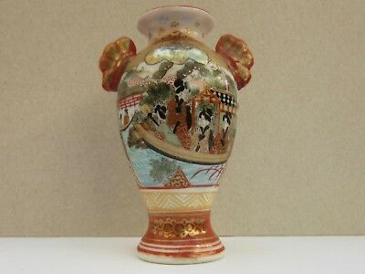 Small Japanese Kutani Geisha Signed Vase with Handles Excellent Condition