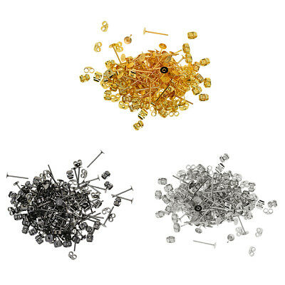 600 Pack 4mm Blank Flat Pad Base Earring Posts with Back DIY Making Findings
