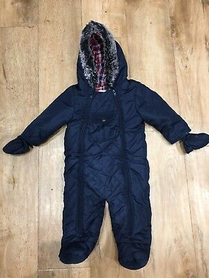 M&S Autograph Baby Boy Navy Snow Suit Age 6-9 Months
