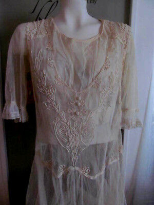 Lovely Antique Edwardian French Net Lace Summer TEA DRESS~Cord Braid Decoration