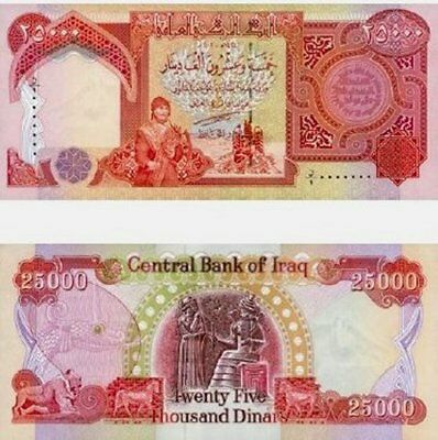 25,000 IRAQI DINAR NOTE - AUTHENTIC, CRISP and UNCIRCULATED CONDITION - IQD FAST