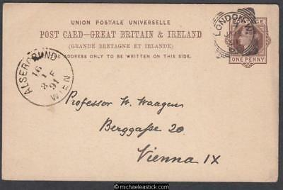 Great Britain 1891 (Jan) Foreign Rate Post Card London to Vienna