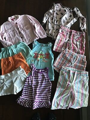 Size 4T Girls Summer Clothes Lot. Shorts Tank Tops Jacket Sleeper