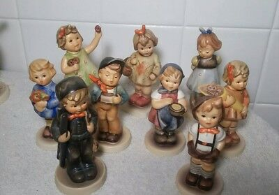 HUMMEL GOEBEL MIXED LOT SMALL FIGURINE LOT OF 9  Chimney Sweeper and more!