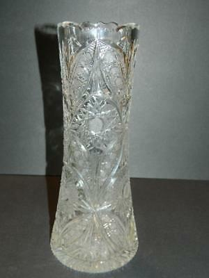 Leaded Cut Glass Vase Etched Stars, Fluted Body, Fans  Antique