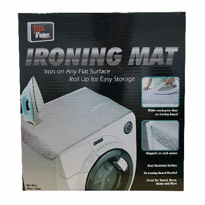 Total Vision Ironing Mat Heat Resistant Compact Roll Up Portable Travel Board