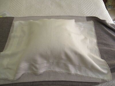 Vintage PILLOW SHAM handmade in white linen, envelope style, delicate edging