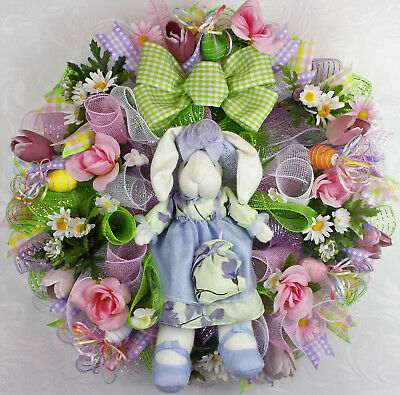 Spring, Easter Bunny Wreath, Deco Mesh Easter Daisies And Tulips Wreath