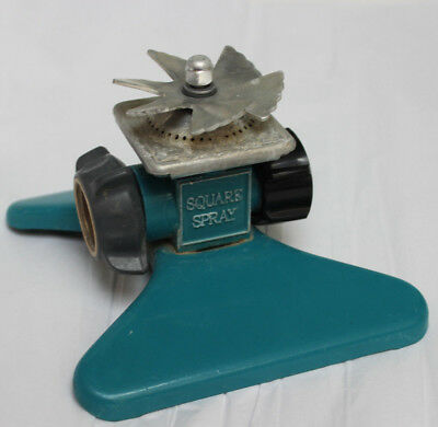 Old Turquoise Square Spray Metal Lawn Sprinkler It Gets the Corners Hose End