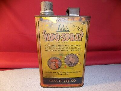 Rare Antique Lee's Vapo Spray Medicine For Poultry & Hogs Tin Oil Can