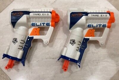 Lot Of 2 Nerf N-Strike Elite Triad EX-3 ~ 3-Dart Micro Blaster - TESTED & WORKS!