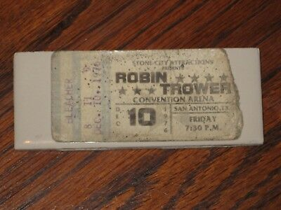 Vintage 1976 Robin Trower Concert Ticket Stub Sa Texas 12/10/76 Robin Trower
