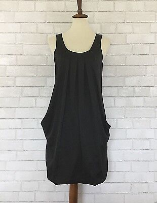 8ee10ef7b19 H M Women s Black Shift Dress Pleated Front Sleeveless 2 Front Pockets ...