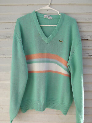 "Vintage 80s IZOD Lacoste Sweater Mint Green Striped ""The Lacoste Club"" Men's XL"