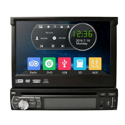 "Single 1Din Car DVD Player 7"" GPS Navigation In-dash HD Bluetooth DAB+ Radio RDS"