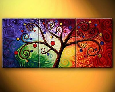 ZOPT1610 3pcs abstract landscape tree hand painted art OIL PAINTING ON CANVAS