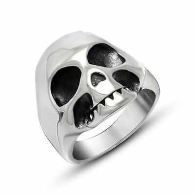 Vintage Fine Crafted Titanium Steel Ring Skull Head Personalized Jewelry NS