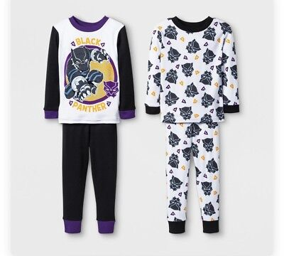 NWT Toddler Boys 4 Piece Marvel Black Panther Fleece Pajama Set Black Size 4T