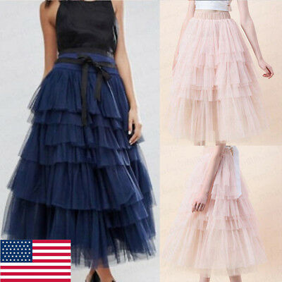 US Womens Tulle Mesh Full Skirt Elastic High Waist Tiered Pleated Maxi  Dress