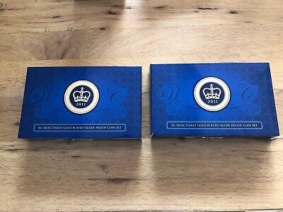 2011 50 cent gold plated silver proof coin set