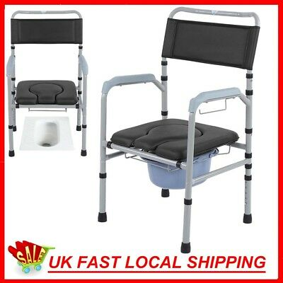Folding Commode Chair Portable Toilet Padded Seat & Armrests Toilet Mobility Aid