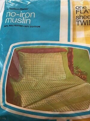 Vintage New Sealed J C Penny  Fashion Manor No Iron Muslin Fitted Double Sheet