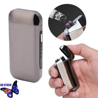 USB Rechargeable Electric Cigarette Lighter Pulse Arc Windproof Flameless Black