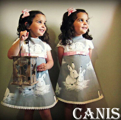 Lovely Toddler Kids Baby Girl Summer Casual Bunny Dress Sundress Clothes 1-6Y