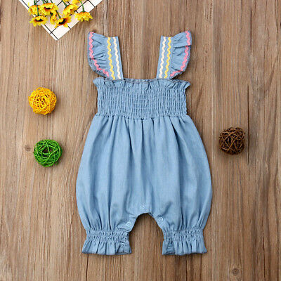 Newborn Baby Girl Ruffle Long Romper Bodysuit Jumpsuit Cotton Outfits Sunsuit
