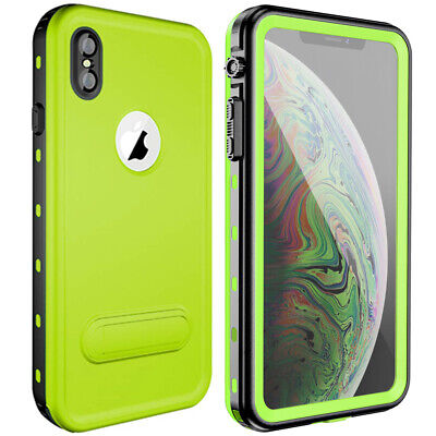 For iPhone XS MAX Waterproof Case XR XS Cover Kickstand Support wireless charger