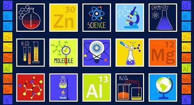 GEEK CHIC - Science Chemistry Studio E Fabric Panel  Navy