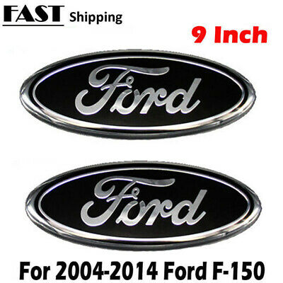 2006-2014 Ford F-150 Black Oval Front Grille & Rear Tail Gate 9 Inch Logo Set
