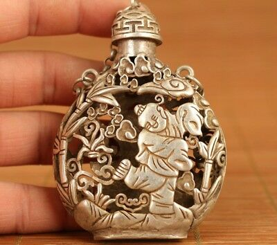 big chinese old tibet silver hand carving favorite Statue snuff bottle netsuke