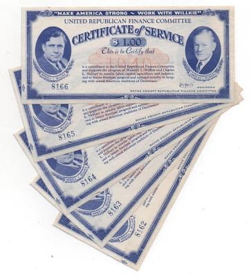 Make America Strong-Work With Willkie. Certificates of Service $1.00  x5  TF-164